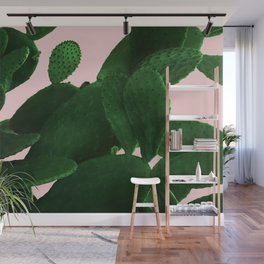 Cactus On Pink Wall Mural
