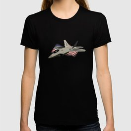 F22 Raptor with the American National Flag T-shirt