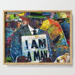 African American Atlanta Civil Rights Memorial Portrait No. 1 Serving Tray