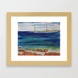 Thatcher island lighthouses on a peaceful day Framed Art Print