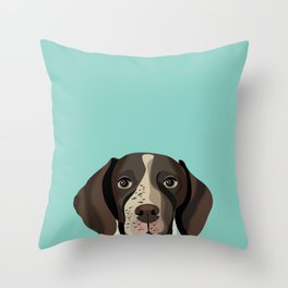 German Shorthair Pointer portrait minty dog portrait cute art gifts for dog breed lovers Throw Pillow