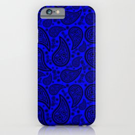Paisley (Black & Blue Pattern) iPhone Case