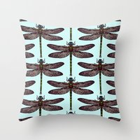 dragonfly Throw Pillows featuring dragonfly by Sharon Turner