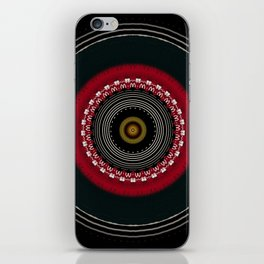 Modern Black White and Red Mandala iPhone Skin