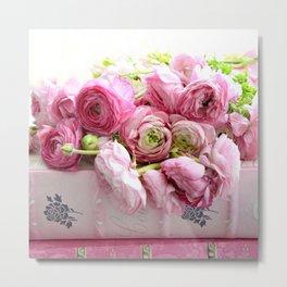 Shabby Chic Floral Prints Ranunculus Metal Print