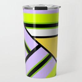Striped , multi-colored , asymmetric combination pattern . Patchwork . Travel Mug