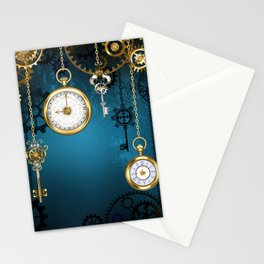 Steampunk Design with Clocks and Gears Stationery Cards