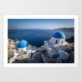 Blue Domes of Santorini Art Print