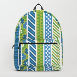 Geometrical lime green blue floral stripes patterns Backpack