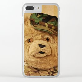 Teddy Bear In Uniform Clear iPhone Case