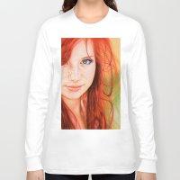 redhead Long Sleeve T-shirts featuring Redhead Girl by Samuel Silva