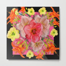 YELLOW PINK & CREAM DAYLILIES BLACK GARDEN Metal Print