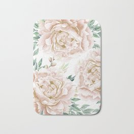 Pretty Blush Pink Roses Flower Garden Bath Mat