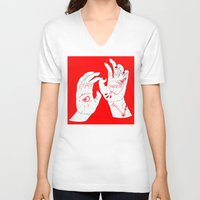 crane V-neck T-shirts featuring Marion Crane by scoobtoobins