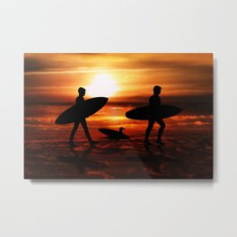 Sunset Surfers Metal Print
