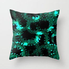 Abstract glowing pattern of soap bubbles and gears in azure design on a black background. Throw Pillow