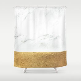Color Blocked Gold & Marble Shower Curtain