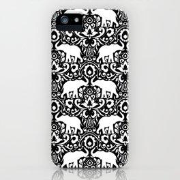 Elephant Damask Black and White iPhone Case