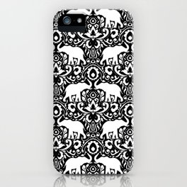 Elephant Damask Black and White iPhone Case