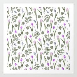 Elegant lilac blush pink blue watercolor tulips pattern Art Print