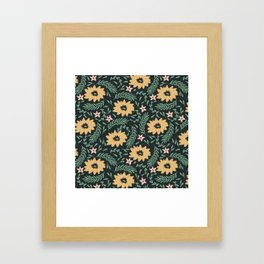Dark Gold Flowers Framed Art Print