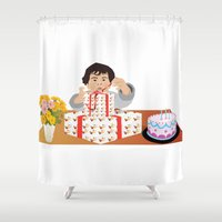 happy birthday Shower Curtains featuring Happy Birthday! by Design4u Studio