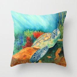 Basking Sea Turtle Throw Pillow
