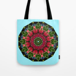 Red blossoms 001.5, Floral mandala-style Tote Bag