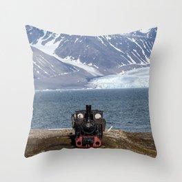 Old locomotive in Svalbard landscape Throw Pillow