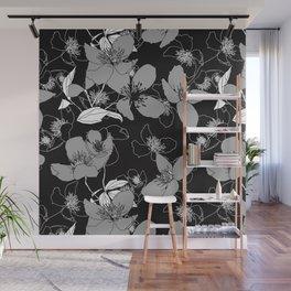 Monochrome wild rose 66 Wall Mural