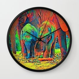 AnimalColor_Elephant_001_by_JAMColors Wall Clock