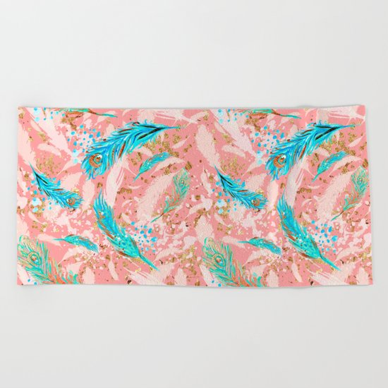 Feather peacock peach mint #10 Beach Towel