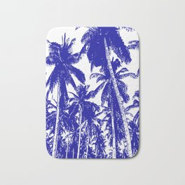 Palm Trees Design in Blue and White Bath Mat