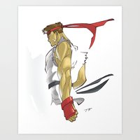 street fighter Art Prints featuring The Street Fighter by JoPruDuction Art