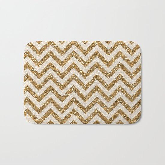 Sparkling gold glitter chevron pattern Bath Mat