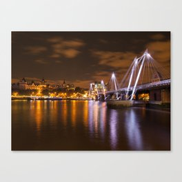 The hungerford Bridge At Dusk Canvas Print
