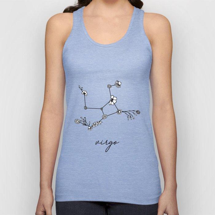 Virgo Floral Zodiac Constellation Unisex Tank Top