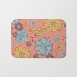 Multi-Florals Coral, Yellow & Blue Bath Mat