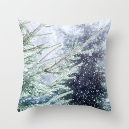 Snowfall, Green Spruce Trees. Winter Forest. Christmas Mood Throw Pillow