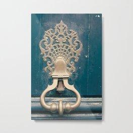 Paris details, Navy blue door Metal Print