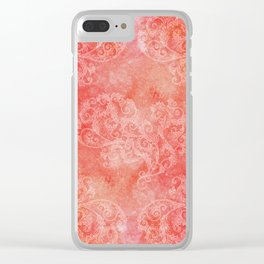 Coral grunge with white floral ornament Clear iPhone Case