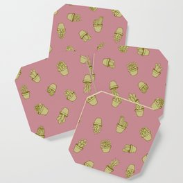 Pink+Mustard Succulents Coaster