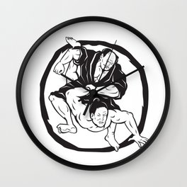 Samurai Jiu Jitsu Judo Fighting Drawing Wall Clock