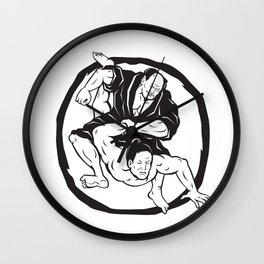 Samurai Jiu Jitsu Judo Fighting Drawing Wall Clock