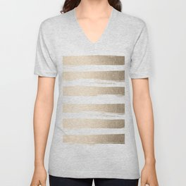 White Gold Sands Painted Thick Stripes Unisex V-Neck