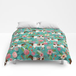 Shorthorn cattle breed farm homestead cows shorthorn cow floral Comforters