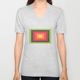 Green, Pink, and Gold Rectangles Unisex V-Neck