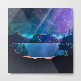 Magic Mountain Lake with Stars - Abstract Landscape Metal Print