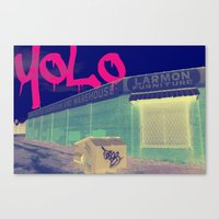 yolo Canvas Prints featuring YOLO by Devin Stout
