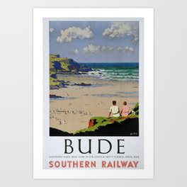 retro classic Bude poster Art Print